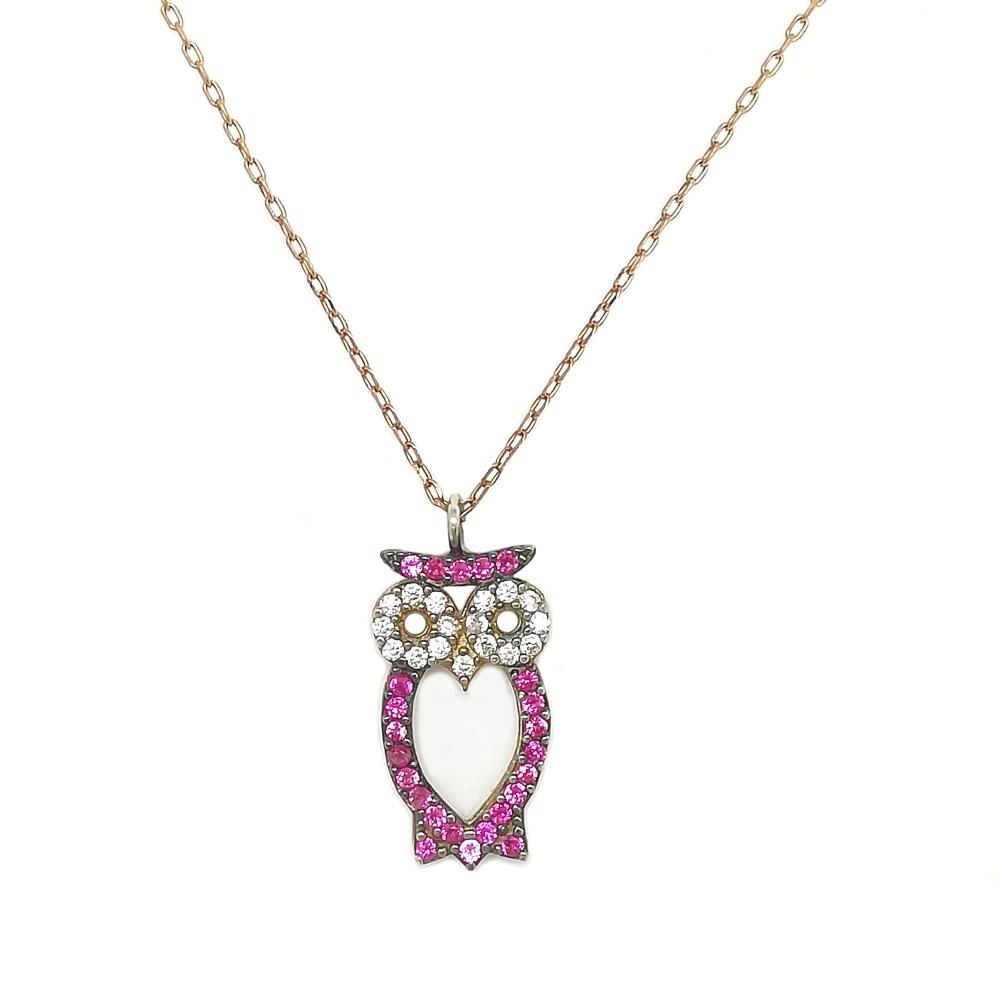 Ασημένιο Κολιέ με Ροζ Επιχρύσωμα 9630-TJN21 c9c8f616df8
